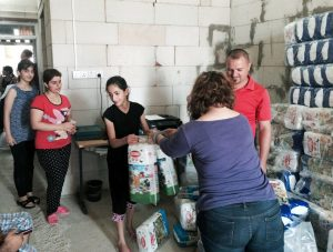 Diapers distributed to young Christian mothers at one of seven locations in northern Iraq. A total of 160,000 diapers were delivered